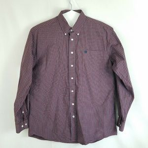 Cinch Mens Button Down L/S Red Gray Western Shirt